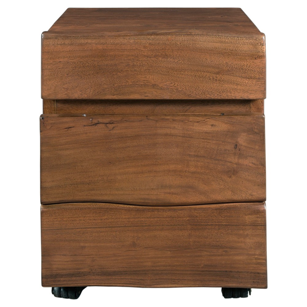 2 Drawer Theo Rolling File Cabinet Walnut (Brown) - Treasure Trove