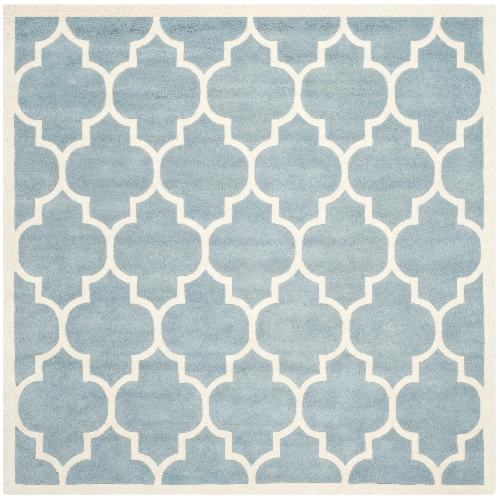 7'X7' Quatrefoil Design Tufted Square Area Rug Blue/Ivory - Safavieh