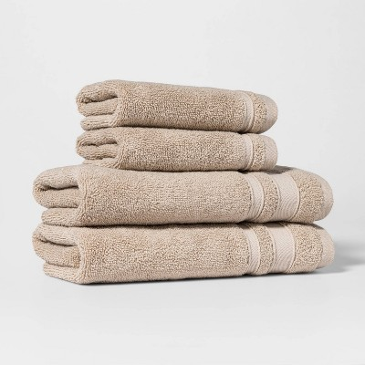 4pc Performance Hand Towel/Washcloth Set Sand - Threshold™
