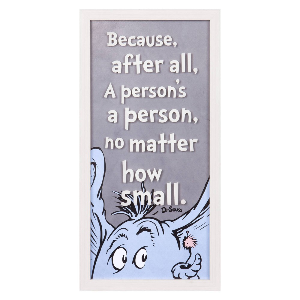"""Image of """"10""""""""x20"""""""" Dr. Seuss Horton """"""""A Person's A Person"""""""" Framed Print On Glass Wall Art"""""""