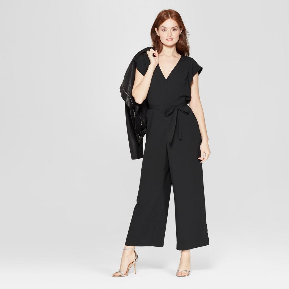Women's Short Sleeve V-Neck Jumpsuit - A New Day Black XS