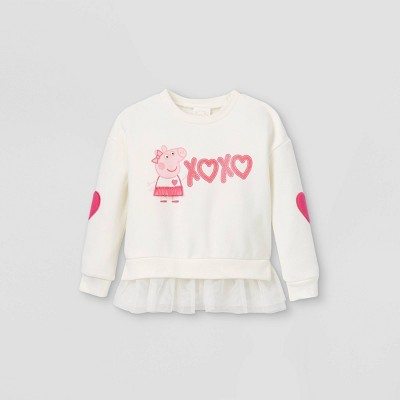 Toddler Girls' Peppa Pig 'XOXO' Valentine's Day Fleece Pullover - Ivory