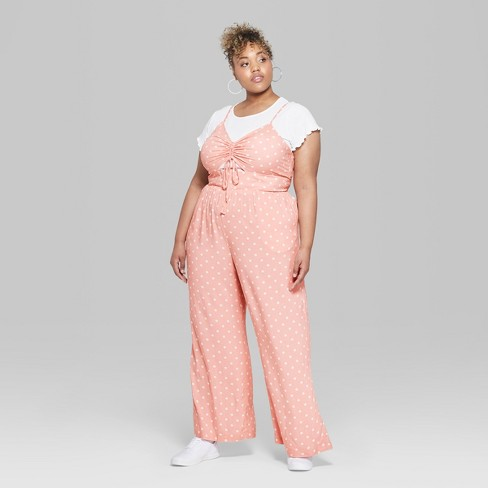 cb5aec23fefa Women s Polka Dot Plus Size Strappy Ruched Front Cutout Jumpsuit - Wild  Fable™ Light Pink   Target