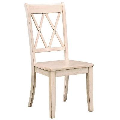 Set Of 2 Pine Veneer Side Chair with Double X Cross Back - Benzara