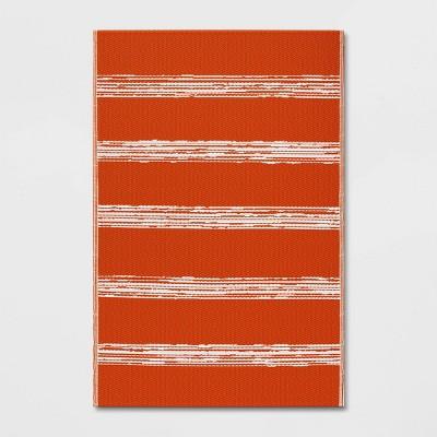 6' x 9' Patio Mat Deep Orange Stripe - Room Essentials™