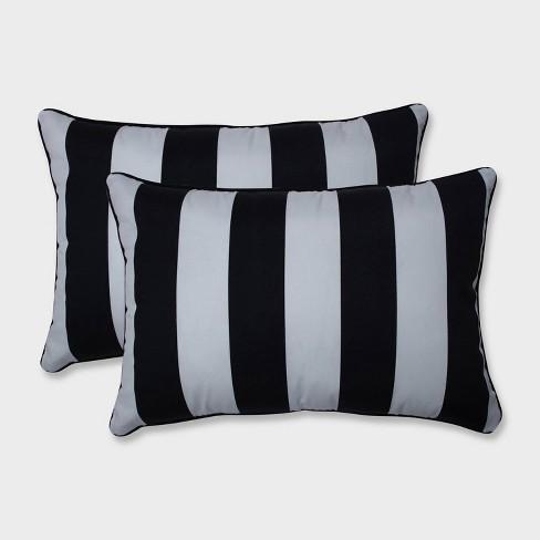 2pk Oversize Cabana Stripe Rectangular Throw Pillows Black - Pillow Perfect - image 1 of 2