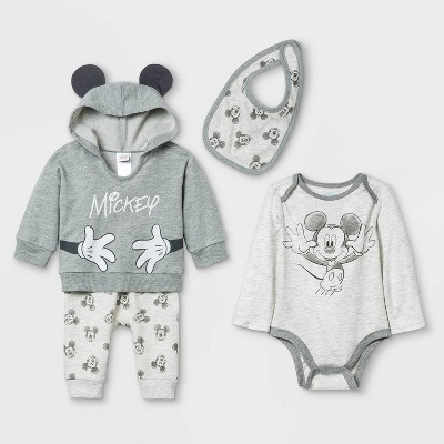 Baby Boys' 4pc Mickey Mouse Long Sleeve Top and Bottom Set with Bib - Gray 0-3M