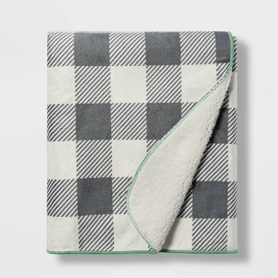 Plush Velboa Buffalo Check Baby Blanket - Cloud Island™ Cream