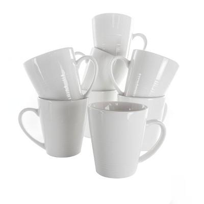 12oz 8pc Porcelain Amie Mug Set White - Elama