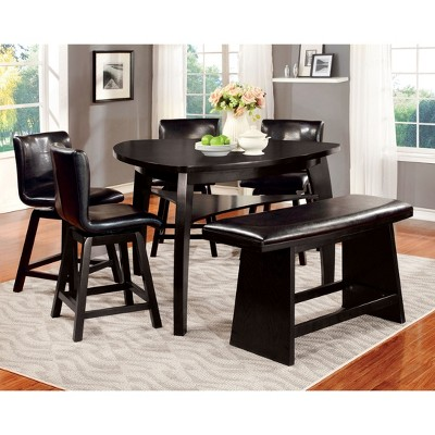 IoHomes Flared Legs Padded Leatherette Counter Dining Bench Wood/Black :  Target