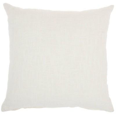"18""x18"" Mina Victory Life Styles Solid Woven Cotton Throw Pillow White - Nourison"