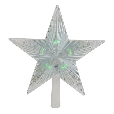 "Northlight 9"" Pre-Lit Clear Crystal Star Christmas Tree Topper - Multicolor LED Lights"