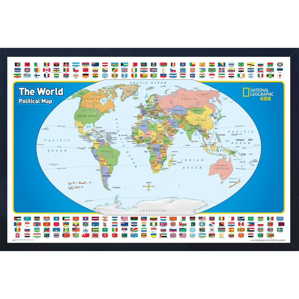 Image of National Geographic Educational Art - World Map with Flags