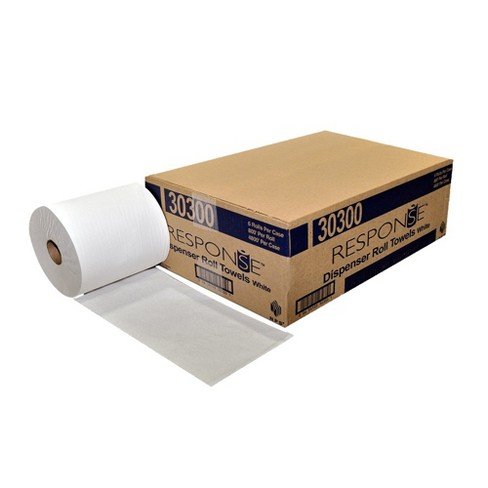 NPS Response Recycled 800 Feet Hardwound 1 Ply Extra Absorbent Paper Towel Roll Dispenser, White (Case of 6) - image 1 of 4