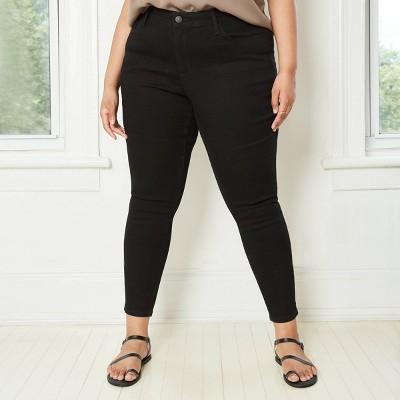Women's Plus Size Mid-Rise Skinny Jeans - Ava & Viv™ Black