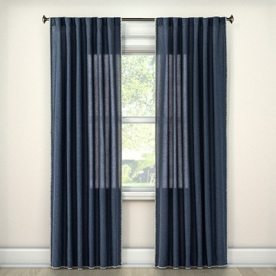 54 x84  Stitched Edge Curtain Panel Navy - Threshold™