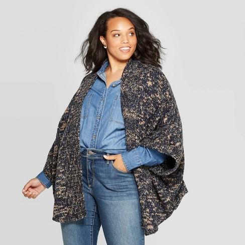 Women's Short Dolman Ruana Wrap Jacket - Universal Thread™ Navy  One Size - image 1 of 2
