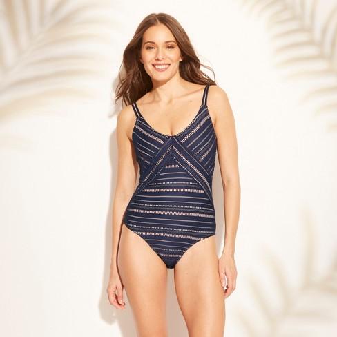 5a647509483 Women's Crochet One Piece Swimsuit - Kona Sol™ Navy M