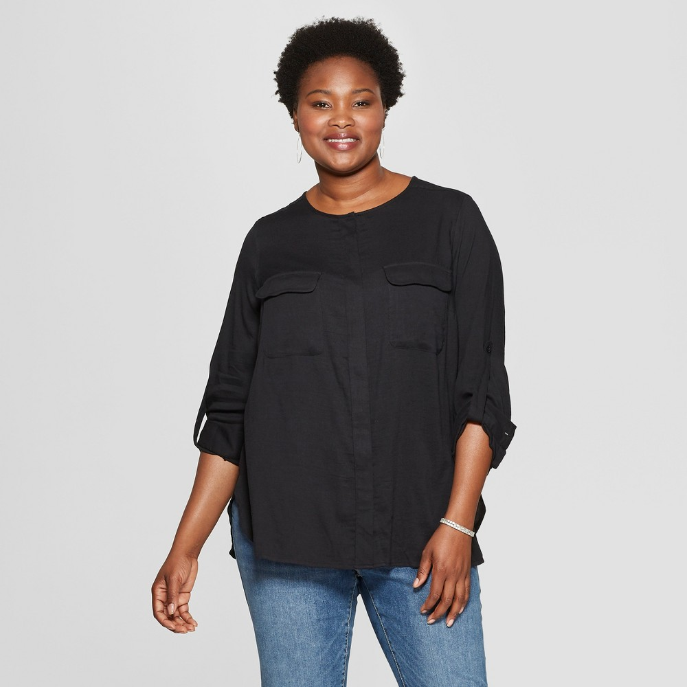 Women's Plus Size Utility Pocket Long Sleeve Shirt - Ava & Viv Black 1X