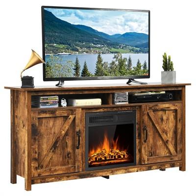 Costway 60'' Industrial Fireplace TV Stand W/18'' 750W/1500W Electric Fireplace