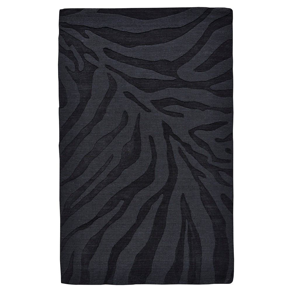 8'X11' Zebra Stripe Tufted Area Rugs Midnight (Black) - Room Envy