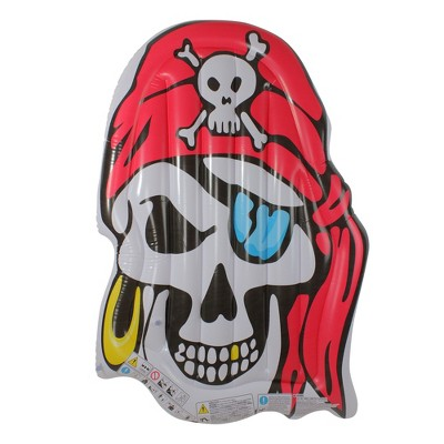"""59"""" Inflatable 1-Person Jumbo Pirate Skull Pool Float - White/Red"""