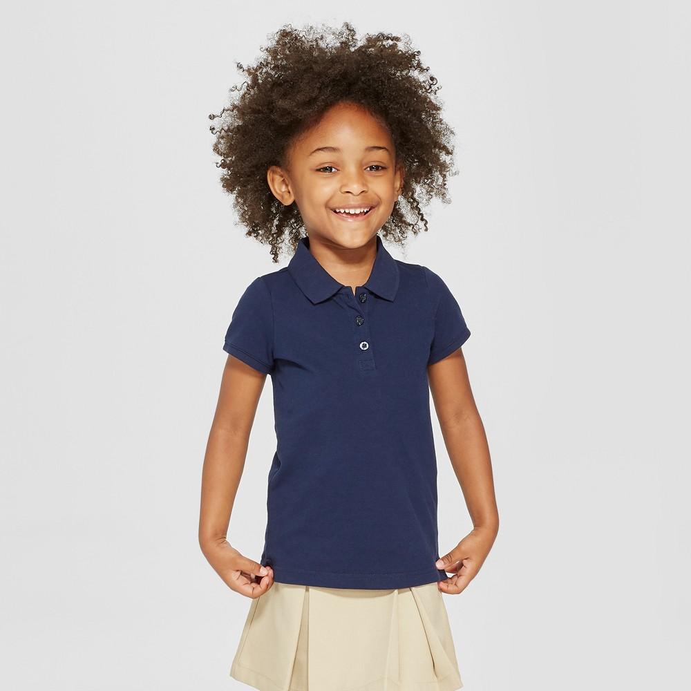 Toddler Girls' Short Sleeve Pique Polo Shirt - Cat & Jack Navy (Blue) 3T
