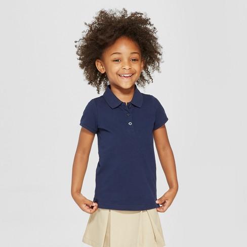 f9966582d Toddler Girls' Short Sleeve Pique Polo Shirt - Cat & Jack™ Navy 2T : Target