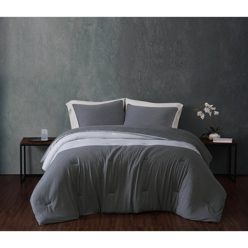 King 3pc Color Block 100 Cotton Jersey Comforter Set Gray Sean John