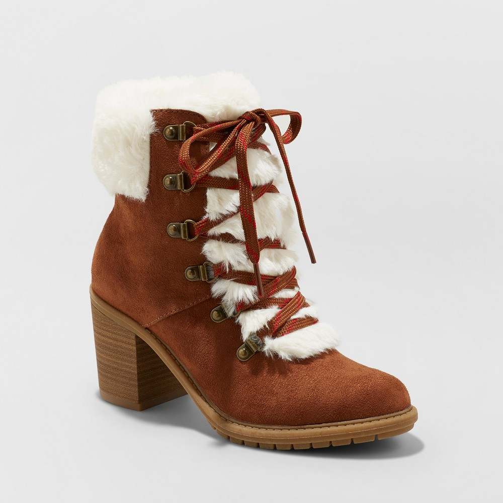Women's Larina Faux Fur Heeled Boots - A New Day Chestnut (Brown) 7