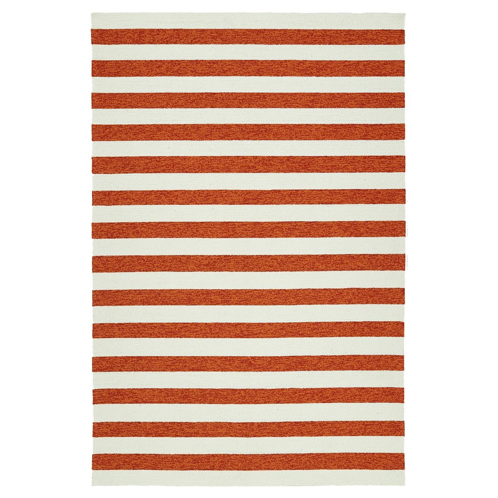 Paprika Red Escape Stripes Indoor/Outdoor Area Rug ((5'x7'6)) - Kaleen Rugs