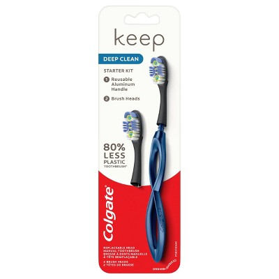 Colgate Keep Manual Toothbrush - Deep Clean Starter Kit with 2 Replaceable Brush Heads - Navy - 1ct