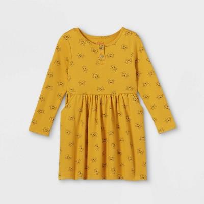 Toddler Girls' Cat Print Knit Long Sleeve Dress - Cat & Jack™ Dark Yellow