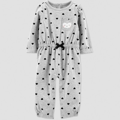 Baby Girls' 1pc Jersey Owl Jumpsuit - Just One You® made by carter's Gray 9M