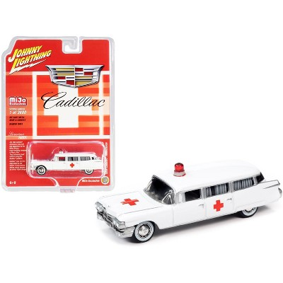 """1959 Cadillac Ambulance White """"Special Edition"""" Limited Edition to 3600 pieces 1/64 Diecast Model Car by Johnny Lightning"""