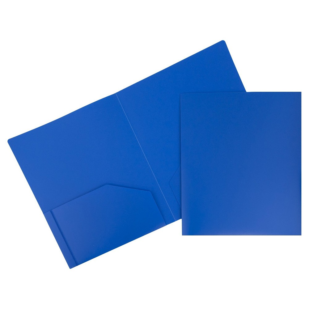 Image of 6pk 2 Pocket Heavy Duty Plastic Folder Blue - JAM Paper