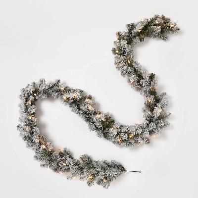 9' Pre-lit Flocked Artificial Pine Christmas Garland Clear Lights - Wondershop™