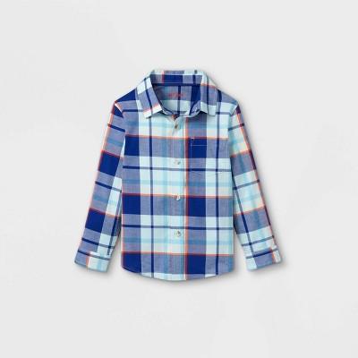 Toddler Boys' Plaid Poplin Woven Long Sleeve Button-Down Shirt - Cat & Jack™