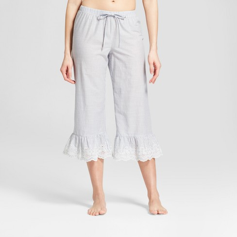 Women's Wide Leg Pajama Pants - Gilligan & O'Malley™ Blue Stripe - image 1 of 2