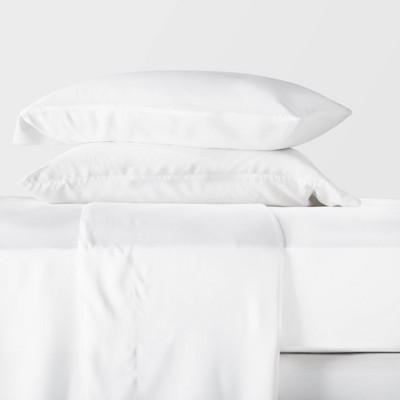 King 400 Thread Count Lyocell Solid Sheet Set White - Casaluna™