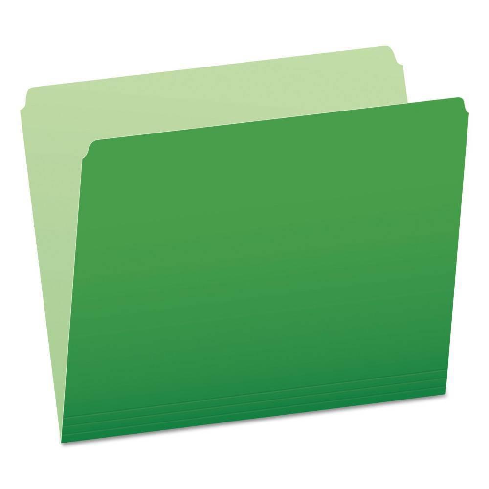 Image of Pendaflex Two-Tone File Folders, Straight Cut, Top Tab, Letter, Green/Light Green, 100/Box