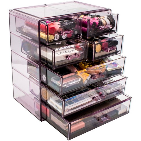Sorbus Cosmetics Makeup and Jewelry Storage Case Display - 3 Large, 4 Small Drawers - Purple - image 1 of 4