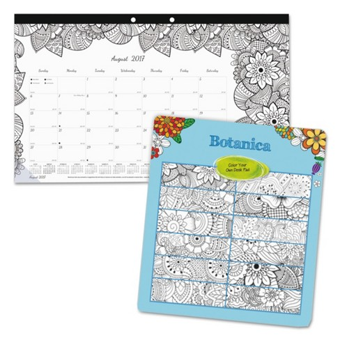 Blueline® Academic DoodlePlan Desk Pad Calendar With Coloring Pages17 3/4 x 10 7/82017-2018 - image 1 of 5
