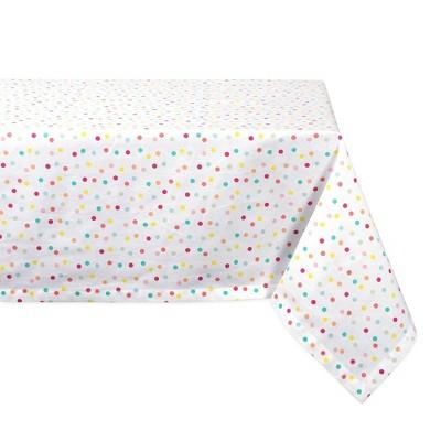 "104""X60"" Polka Dots Print Tablecloth White - Design Imports"