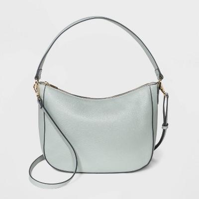 Zip Closure Shoulder Bag - A New Day™ Gray Green