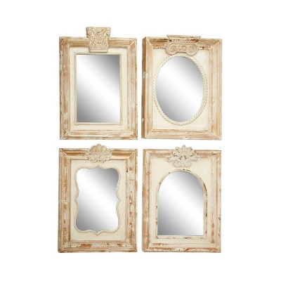 Set of 4 Large Rectangular Distressed Carved Wood Wall Mirrors White - Olivia & May
