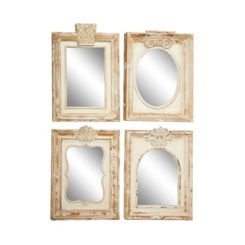Set Of 4 Large Rectangular Distressed, Carved Wood Mirror Target