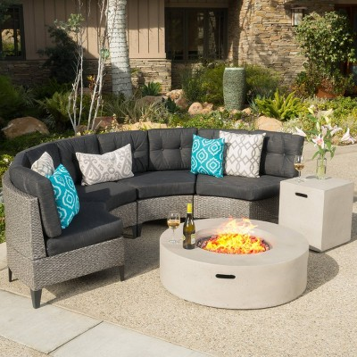 Navagio 6pc Wicker Half Round Sofa Set and Fire Table -Black/Gray - Christopher Knight Home
