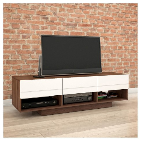 Sequence Entertainment Kit With Tv Stand And Drawer Audio Cabinet 60 White Walnut Nexera Target