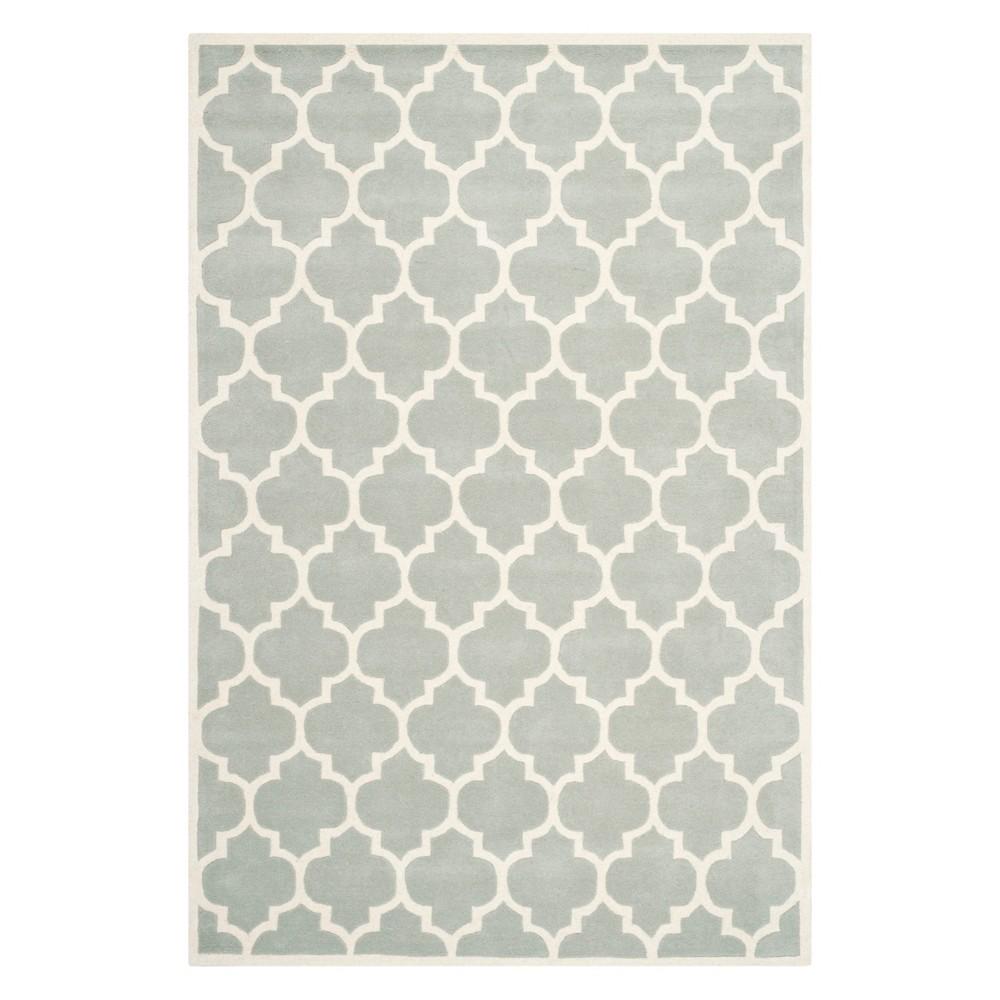 5'X8' Quatrefoil Design Tufted Area Rug Gray/Ivory - Safavieh